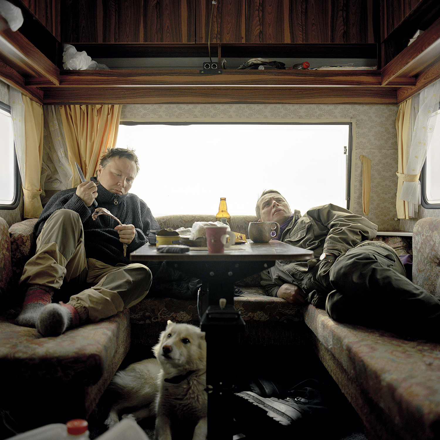 Relaxing in the trailer, 2005